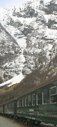 The famous Flam railway runs all year and links to the main Bergen - Oslo line