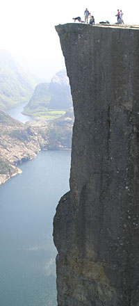 Pulpit Rock and Lysefjorden below - one of the top attractions of the Stavanger Norway region